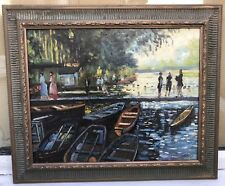 1960s French impressionist oil painting of figures in harbour  signed Paul Meze