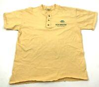 VINTAGE New Horizon Travel Shirt Size Large Yellow Henley Short Sleeve Mens Tee