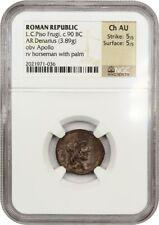 90 BC L.C.Piso Frugi AR Denarius NGC Ch AU (Ancient Roman)