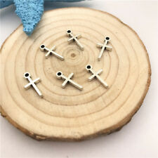 30pcs Jewellery Making Cross Charms Pendant Tibetan Silver 13x7mm