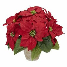 Nearly Natural 1268 Poinsettia with Ceramic Vase Silk Flower Arrangement- Red