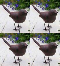 4 Charming Unique Rustic Green Rust Metal Songbird Garden Pathway Bush Ornaments