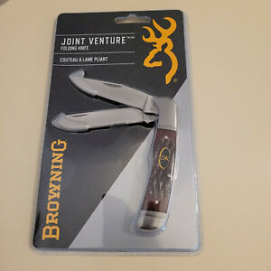 Browning Joint Venture Trapper Bone Brown Dual Blade Folding Pocket Knife New!