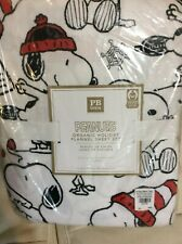 Pottery Barn Kids Peanuts Holiday Flannel Queen Sheet Set Christmas Snoopy NWT