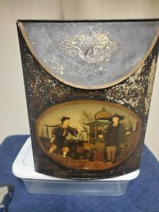 """19TH Century Chinese Tea Bin Dispenser Toleware with Lid 13"""" Tall"""