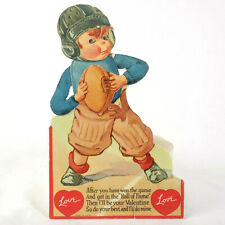 Vintage c1930-40s Mechanical Valentine Greeting Card - Boy with Football