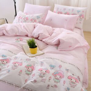My Melody Pink Stripes Cartoon Printed Cotton Sheets Quilt Beddings Set 3/4Pcs
