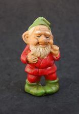 "Gnome Smoking Pipe Ornament Vintage Paper Mache 4"" Hang Sit Old Christmas Santa"