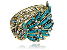 Golden Blue Beads Crystal Rhinestone Side Profile Peacock Bracelet Bangle Cuff