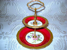 Vg German Bavaria Lindner HP Porcelan Royal Red 2-Tier Etagere Stand Server Tray