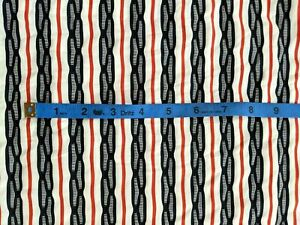 """1.75 Yards Striped Knit Fabric - Black, Red, and White - 54"""" Wide"""