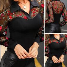 Sexy Femme Chemise Haut Shirt Loisir Manche Longue Patchwork de dentelle Plus