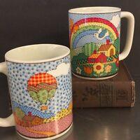 Otagiri Ceramic Mugs Vintage Patchwork Rainbow Made Japan Mid Century Kitchen