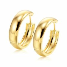 Smooth Huggie Hoop Earrings Womens Jewelry Gold Plated Party Round 22mm Big Ears