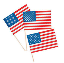 Pack of 12 - Small Paper American Flags on Sticks - USA July 4th Party Supplies