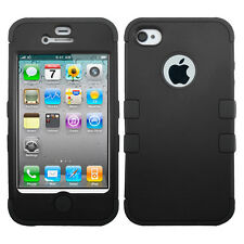 For iPhone 4 4S Rubber IMPACT TUFF HYBRID Case Skin Phone Cover Black