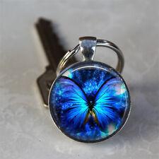 Blue Glowing Butterfly Glass Dome Keychain (GDK0235)