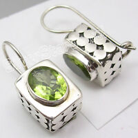 925 Silver PERIDOT Designer BOX Dangle Earrings JEWELRY