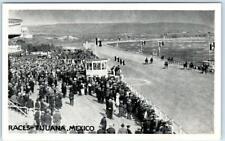 TIJUANA, MEXICO ~ HORSE RACES   Racing Racetrack  Crowd ca 1920s Postcard