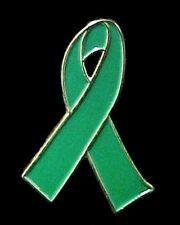 Green Ribbon Pin Kidney Cancer Leukemia Bipolar Organ Transplant Awareness New