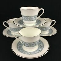 Set of 4 VTG Cups and Saucers Royal Doulton Counterpoint Bone Floral England