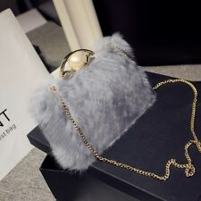 Women elegant rabbit fur bag ladies party handbag evening  soulder bag girl bag