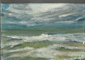 """Original acrylic painting on canvas sea scape on a stormy day. 11.5""""x 8"""""""