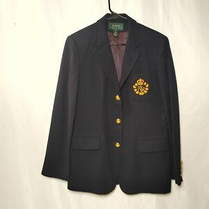 Ralph Lauren Vintage Crown Crest Logo Embroidered Blazer Jacket Size 8 Blue