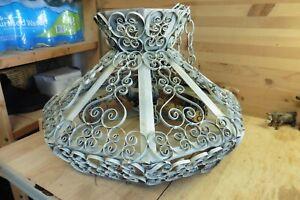Vintage Chandelier Iron MCM intricate craftsmanship doilies hummingbird nest