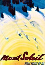 Art Travel MONT SOLEIL  ECOLE SUISSE DE SKI Skiing  Poster Print