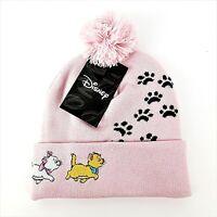 Disney The Aristocats Pink Embroidered Knit Beanie One Size Paw Prints Pom Pom