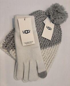 UGG Blocked Hat W/Pom IVORY 12791 And UGG Tech Gloves IVORY 17038
