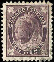 1897 Used Canada 10c F-VF Scott #73 Queen Victoria Maple Leaf Stamp