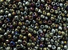 Perles de rocaille  en verre 3mm 20g irisé or argenté