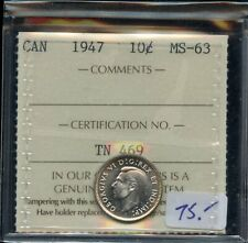 1947 Canada Ten Cents - ICCS MS-63 Cert#TN469