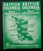 Vintage British Columbia Tourist Accommodations1955 Hotels Fishing Camps Ranches