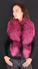 Saga Furs Hot Pink Silver Real Fox Fur Winter Shoulder Wrap Scarf Boa Stole