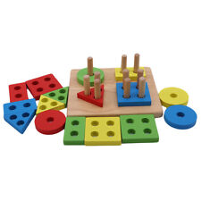 Wooden Educational Toddler Toys Geometric Shapes Block Board Stack Sort WO
