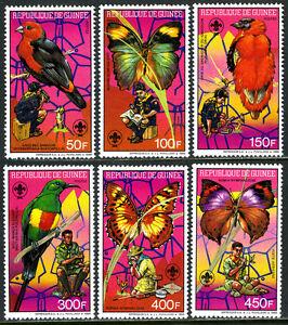 Guinée 1088-1093,1094 S/S,MNH Garçon Scouts Watching Oiseaux Et Papillons,1988