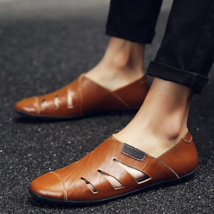 Men's Flats Stylish Roman Driving Loafers Hollow Summer Sandals Shoes Breathable