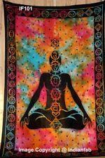 Seven Chakra Yoga Design Twin Size Tapestry Handmade Fabric Multi Bedsheet Art