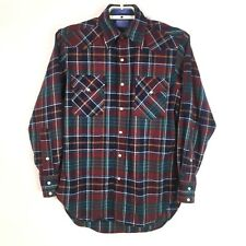 Pendleton Mens Shirt 100% Wool Flannel Snap Front Plaid Washable Size Small