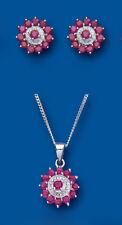Rubí y Diamante Juego Plata de Ley Maciza Colgante y Pendientes