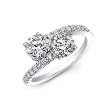 D/VVS1 Engagement Ring 2 Carat Round Cut 14k White Gold Bridal Jewelry