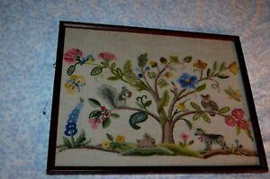 Vtg Tree Animals Flowers, Fence Crewel Embroidery Framed Art Retro 70s-80s Many