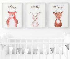 Woodland Animals Nursery Prints, Rustic Nursery Wall Art, Nursery Decor, 3 set