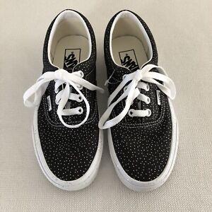 Vans Era Confetti Glitter Shoes Black True White Womens SZ 7