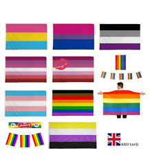 LGBT Rainbow PRIDE FESTIVAL FLAGS Diversity Lesbian Gay Parade 5ft x 3ft Flag UK