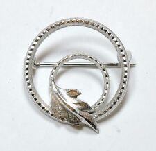 Vintage Dce Sterling Silver Circle Leaf Brooch Pin Au161012