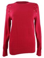 Michael Michael Kors Women's Lace-Up Crewneck Sweater (S, Red Currant)